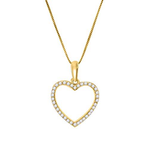 MauliJewels Engagement Necklace for Women 0.36 Carat Heart Shape 3/8 Carat Diamond Pendant Necklace Prong-Setting 10K White Rose & Yellow Gold Genuine Diamond Wedding Jewelry Collection (0.375 Ct Diamond)