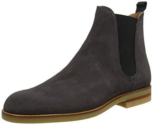 H by Hudson Mens Adlington Formal Office Ankle Cow Suede Chelsea Boots - Gray - 9
