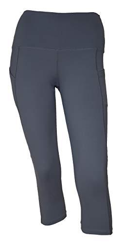 Private Island Women Side Pockets Plus Size UPF 50+ Swim Capri Pants Rash Guard (XL, Grey)