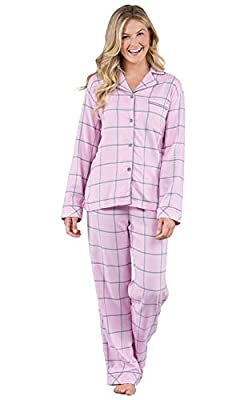 PajamaGram Soft Flannel Pajamas Women - Pajamas for Women, Raspberry, L, 12-14 by PajamaGram