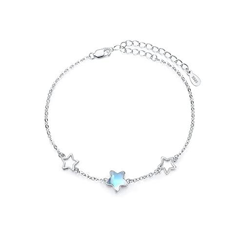 Pulsera de estrella 925 pulsera de piedra lunar de plata esterlina pulsera ajustable regalo de...