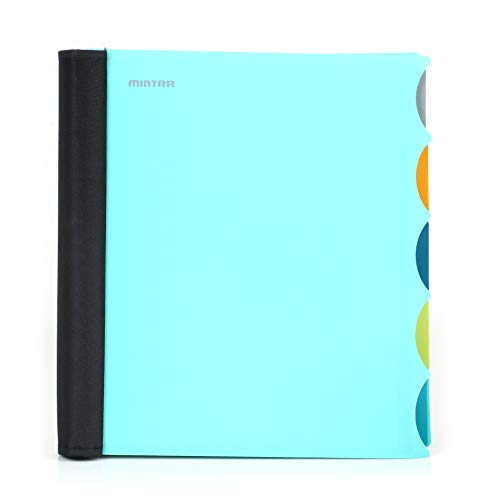 Mintra Office Durable PREMIUM Spiral Notebook - Fabric Covered Coils, No Snags, Removable Adjustable Pocket Dividers, Ruler, Organization, Customizable ((Teal, 5 Subject, 8.5in x 11in))