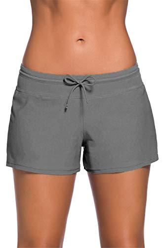 Kfnire Shorts De Natación Mujer, Board Shorts Bañador para Mujer |Cordón Ajustables & Secado Rápido| Cortos de Natación Fondo de Bikini Estilo Boyleg Playa Surf Essential Pantalones Cortos para Mujer