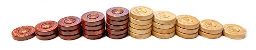 Melia Games Backgammon Spielsteine 22mm aus Holz - 22 x 6 mm - inklusive Würfel und Beutel aus Nubuk Echtleder - Farbe: Black