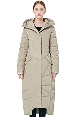 Orolay Women's Quilted Down Jacket Long Winter Coat Maxi Hooded Puffer Jacket