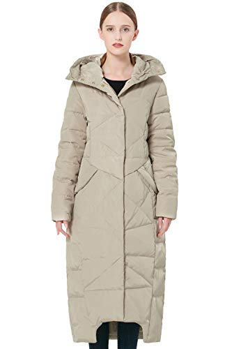 Orolay Damen Daunenmantel Langer Winterjacke mit Kapuze Beige XL