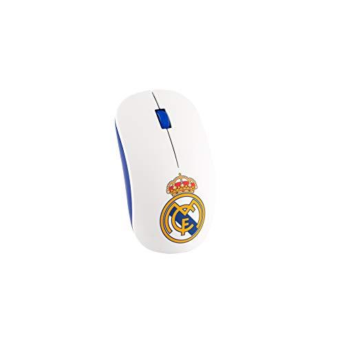 Real Madrid RMMOU001 Ratón inalámbrico, Blanco, 57,9 x 100,9 mm
