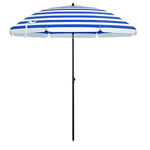 SONGMICS Sonnenschirm, Ø 160 cm, Marktschirm, UV Schutz UPF 50+, Sonnenschutz, achteckiger Gartenschirm aus Polyester, Schirmrippen aus Glasfaser, mit Tragetasche, blau-weiß gestreift GPU60WU