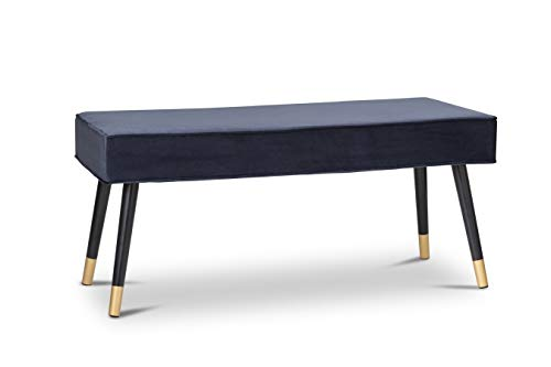 LIFA LIVING Upholstered Bench for 2, Velvet Ottoman with Black Wooden Legs, Dining Chairs, Bedroom Bench Footstool for Living Room, 101x42x 45 cm (Blue)
