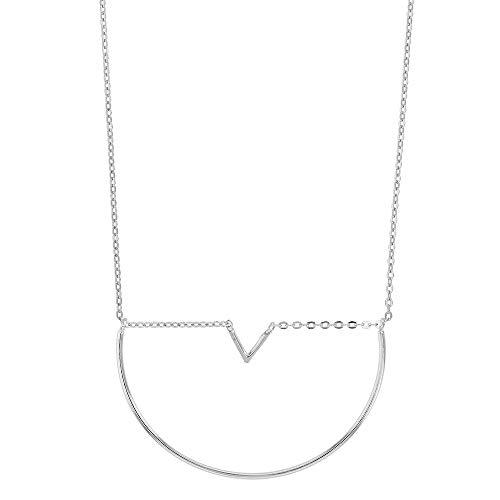 Collier chevron et demi-cercle en argent 925/1000 rhodié