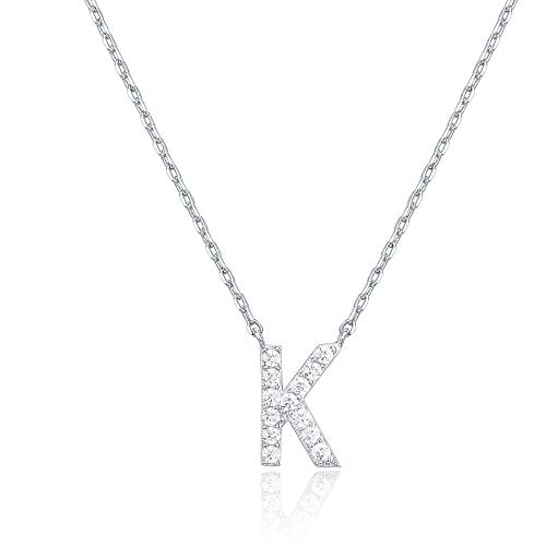 PAVOI 14K White Gold Plated Cubic Zirconia Initial Necklace | Letter Necklaces for Women | K Initial