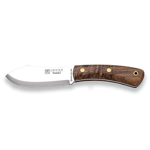 Jokermesser Nessmuk S CN132, Walnussholzgriff, 11 cm Klinge Sandvik 14C28N, mit brauner Lederscheide, Werkzeug zum Fischen, Jagen, Campen und Wandern