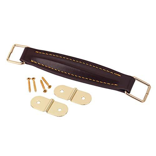 EXCEART Verstärker Griff Lederriemen PU Leder Griff Ersatzteile mit Befestigungsschrauben für Gitarre Audio Verstärker, 1 Stück (Kaffee)
