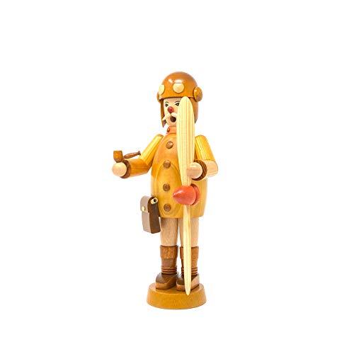 Drechslerei Friedbert Uhlig, Räuchermännchen Nr. 009, Pilot, 25 cm hoch, aus regionalem Holz gedrechselt, echte Handarbeit aus dem Erzgebirge, Weihnachten, Holzkunst, Echtholz