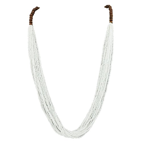 Bocar Long Multiple Row Handmade Beaded Statement Necklace with Gift Box (NK-10407-white)