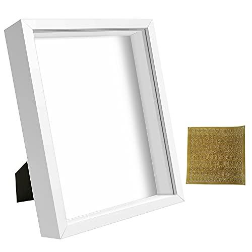 sunmeg 3D Marco de Fotos 20 x 25cm- Marco para Objetos de hasta 3cm- Portafotos Cuadrado para Colgar en la Pared o Escritorio(Blanco, 20 x 25cm)
