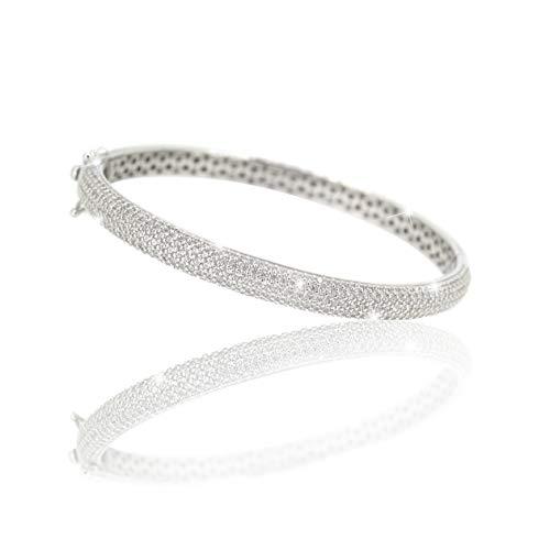 PAVEL´S eleganter Damen Armreif SILVER SPARK Armband Armspange verschließbar 925 Silber 5A Zirkonia inkl. hochwertigem Schmuckbox