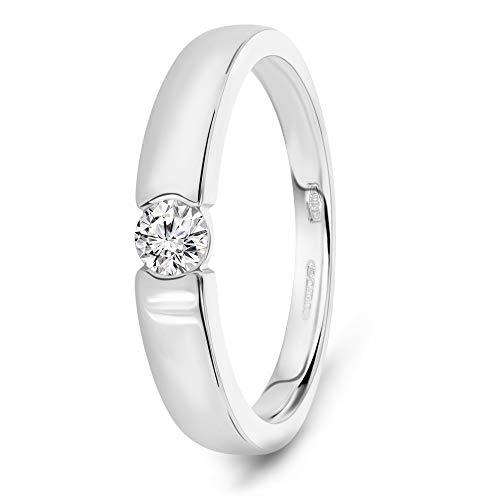 Miore anillo-solitario de compromiso oro blanco 14 kt 585 con diamante talla brillante 0,13 ct