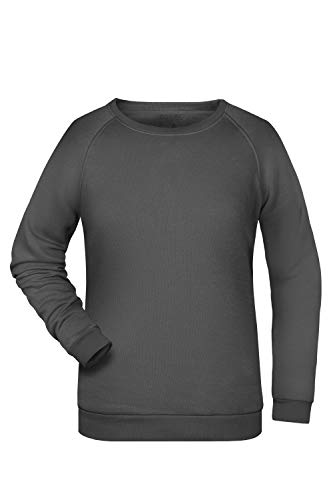 Damen Pullover Sweatshirt Raglan Ärmel Sweater Baumwolle Uni Basic in Graphite Größe: M