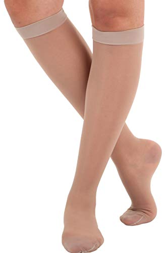 Absolute Support - Made in USA - Size Medium - Sheer Compression Socks for Women Circulation 15-20 mmHg - Lightweight Long Compression Knee High Support Stockings for Ladies - Nude