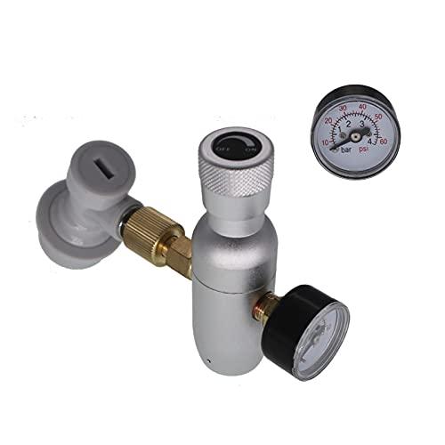Kit de fabricación de vinos Kit de cargador regulado premium, 0-60 PSI Con bloqueo de gas de bloqueo de bola, hilo de 3/8' para la cerveza de cerveza