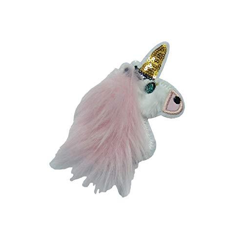 Parches - unicornio felpa melena lentejuelas - blanco
