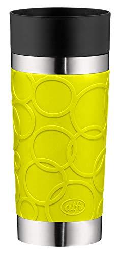 alfi Thermobecher isoMug Plus Soft, Kaffeebecher to go Edelstahl grün 350ml, Isolierbecher mit Druckknopf, auslaufsicher, zerlegbarer Verschluss, 5635.278.035 spülmaschinenfest, 4 Stunden heiß