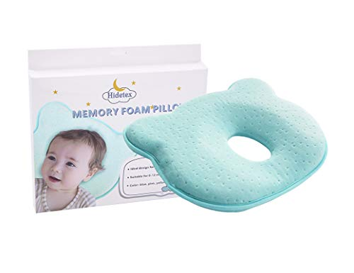 Hidetex Baby Pillow – Anti Flathead Baby Pillow for Your Newborn, Prevent Flat Head & Baby Head Shaping Pillow with Memory Foam(0-12 Months)(Blue)