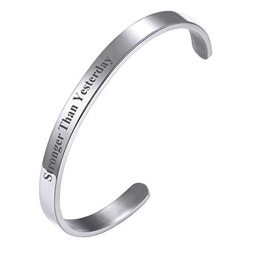 Goldchic Sieraden Inspirerende Manchet Armband, Roestvrijstalen Motiverende Gezegde Armband Voor Mannen En Vrouwen