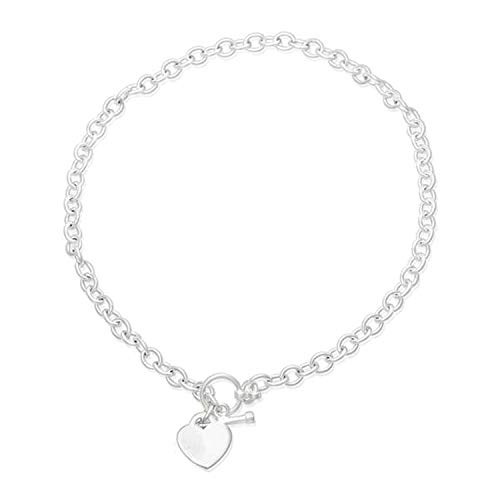 Round (Medium) Belcher/Rolo Link Necklace With Heart Tag & Toggle Clasp - 925 Sterling Silver - 17 Inch