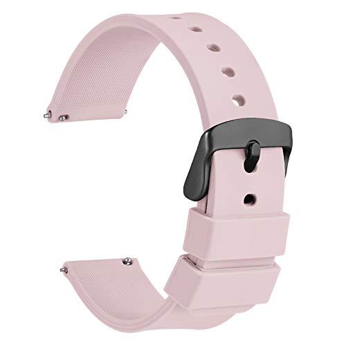 WOCCI 22mm Orologi Cinturino in Silicone con Fibbia Nera per Uomo Donna (Rosa Chiaro)