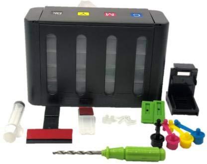 TechNart Ciss Ink Tank Kit with All Accessories Universal for Deskjet 1000,1010,Mx 347 / 357 / Mx 366 Ink Cartridges Multi Color Ink Toner (Black Ink Cartridge)