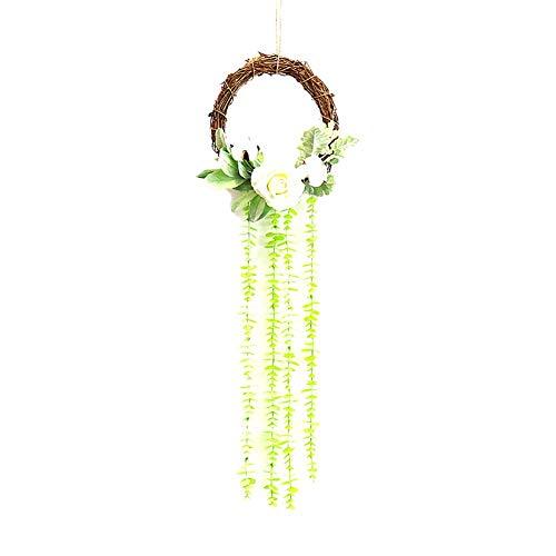 Daney - Ghirlanda di fiori artificiali in vimini, decorazione con pigne, bacche, rami di pino e altro ancora, materiale ecologico, Stile 7, 25*95CM