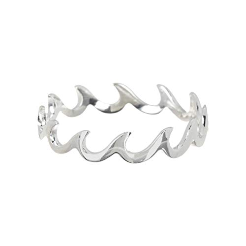 Pura Vida Silver Wave Band Ring - .925 Sterling Silver, Silver Plating Accessories - Size 9