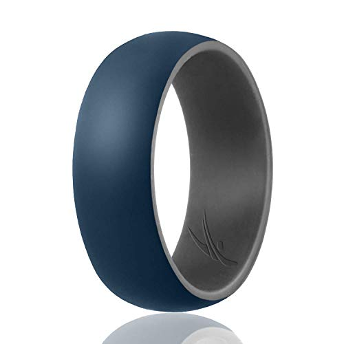 ROQ Silicone Wedding Ring for Men - Duo Collection Dome Style - Single Silicone Rubber Wedding Band - Classic Design - Grey, Blue Colors- Size 8