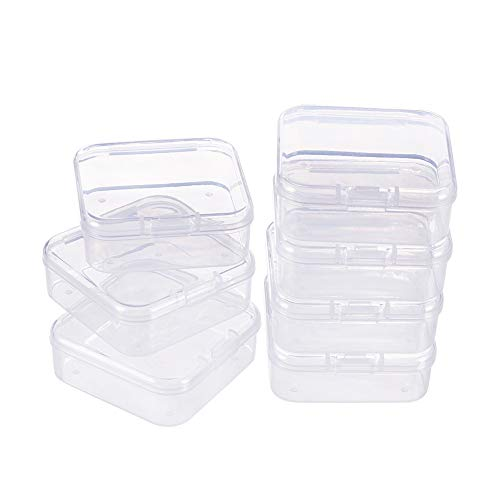 BENECREAT 18 Pack Square Clear Plastic Bead Storage Containers Box Case with Flip-Up Lids for Small Items, Pills, Herbs, Tiny Bead, Jewerlry Findings(5.4 x 5.4 x 2cm)