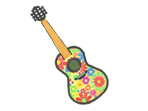 Kleiber Bügelbild Patch Applikation zum Aufbügeln Hippie Blumen Gitarre 3,8 cm x 10,0 cm