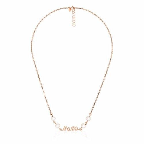 Córdoba Jewels | collana in argento Sterling 925placcato oro rosa motivo ESSENCIA Mama de 25x 7mm perla coltivata di 7mm. Largo 40cm con catena regolabile.