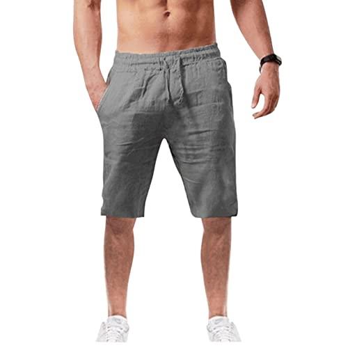 WUAI-Men Casual Linen Shorts Elastic Waist Outdoor Comfy Workout Shorts Summer Beach Swimming Shorts(Grey,Large)