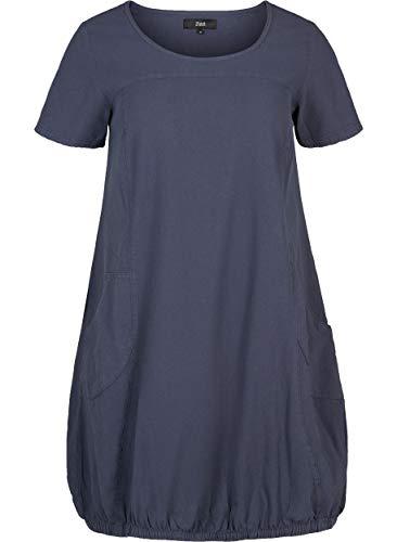 Zizzi Damen Weiches Kleid Knielang Kurzarm Basic Sommerkleid Große Größen 42-56, Blau, 46-48
