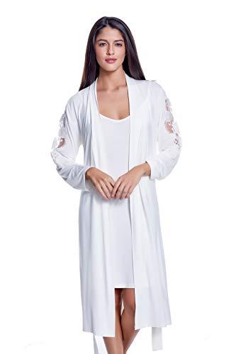 Luisa Moretti Damennachthemd mit Morgenmantel aus Bambusfaser Creme Small