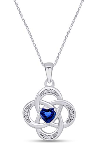 AFFY Celtic Knot Simulated Sapphire Pendant Necklace in 14k White Gold Over Sterling Silver W/Chain 18'