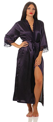 AE Damen langes Kimono Nachtmantel Seidenrobe Morgenmantel Nachtwäsche Dessous Satin Nightwear Reizwäsche mit Spitze Gr. S-XXL Aubergine L