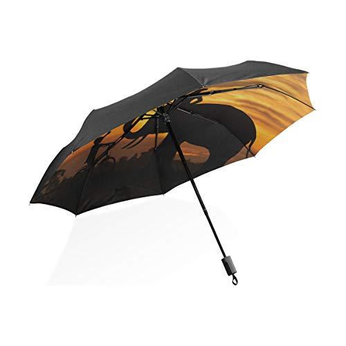 Kleinkind Jungen Regenschirm Elefant und Kinder Fahrrad Fahren Tragbarer kompakter Klappschirm Anti-UV-Schutz Winddicht Outdoor-Reisen Frauen Damen Regenschirme Winddicht