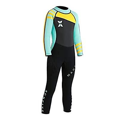 """Neoprene Kids Wetsuit for Boys Girls 2.5MM One Piece Full Body Long Sleeve Swimsuit, UV Protection Keep Warm for Scuba Diving Snorkeling Swimming Fishing Surfing (Girls Green, XL (Height 49""""-53""""))"""