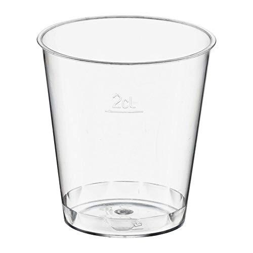 250 Stk. Einweg-Schnapsglas 2cl, PS, mit Eichstrich, transparent glasklar