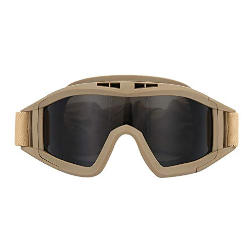 Demeras Tactics Goggles Military Tactical Goggles Gafas Protectoras de Seguridad UV-400 Protección para los Ojos Casco Gafas(Caqui)
