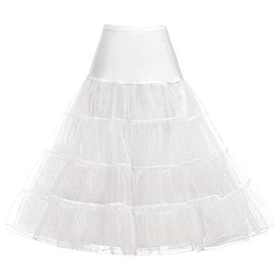 GRACE KARIN Women's A Line Tea Length Petticoat Tulle Crinoline Underskirt Long Slip Hoopless Skirt (Ivory,S) by