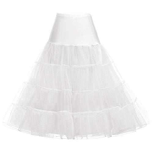 GRACE KARIN Damen 50S Weinlese-Petticoat Crinwooline Tutu Unterröcke Tee Länge 30 Zoll Lange Mittel Ivory (unter dem Knie)