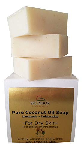 Splendor Moisturizing Coconut Oil Face & Body Bar Soap for Dry, Irritated, Itchy, Sensitive Skin. Organic Ingredients For Psoriasis, Eczema, Dermatitis. Handmade, Vegan, Natural (Unscented, Fragrance-Free)
